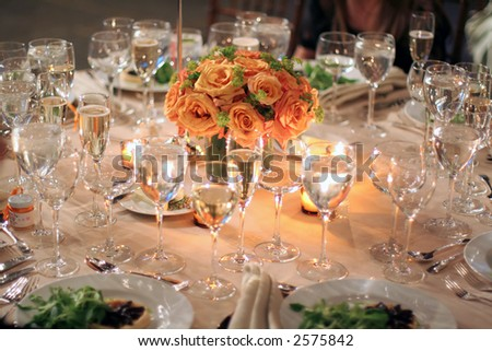 stock photo table appointments wedding dinner