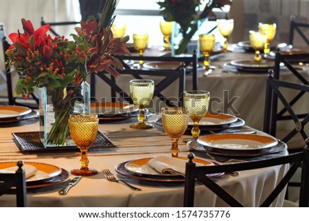 table arrangements with flowers, glasses and cutlery #1574735776