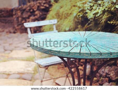 table at summer terrace restaurant. Selective focus , vintage filter