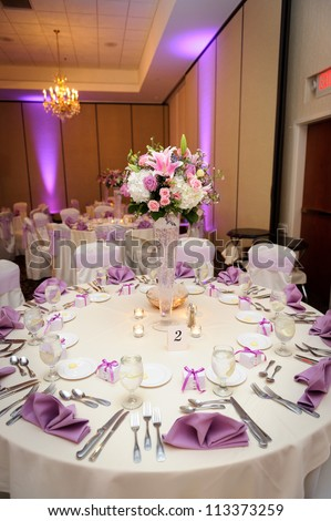 Table at the wedding reception