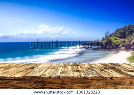 Table background of free space and summer landscape of ocean and coast.