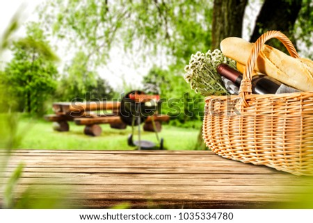 Table background of free space for your decoration and grill time.  #1035334780