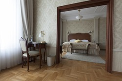 table chair and king size bed in a luxury apartment interior