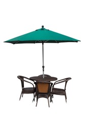 Table, chairs and umbrella outdoors on white background