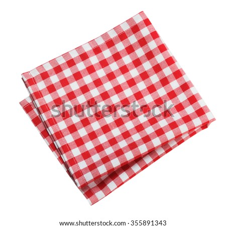 Table cloth kitchen red color isolated on white. Stock fotó ©