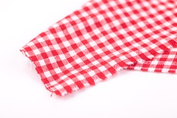 table cloth with red and white grid