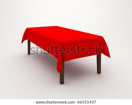 Table covered with a cloth on a white background
