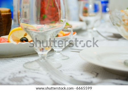 Table covered with meal at restaurant