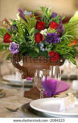 Table decor at a wedding