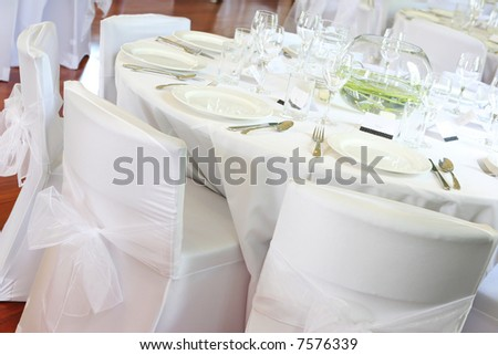 Table decorated at a wedding reception.