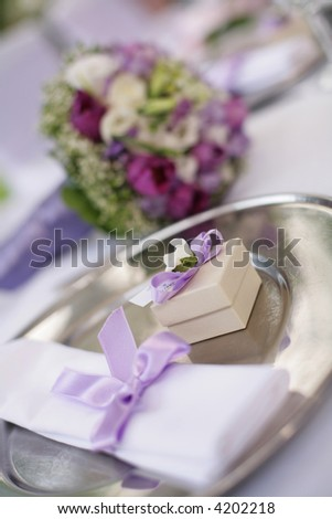 stock photo table decorated for the wedding party