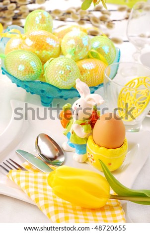 stock photo : table decoration for easter time