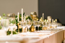 Table decorations for a lavish and festive dinner.