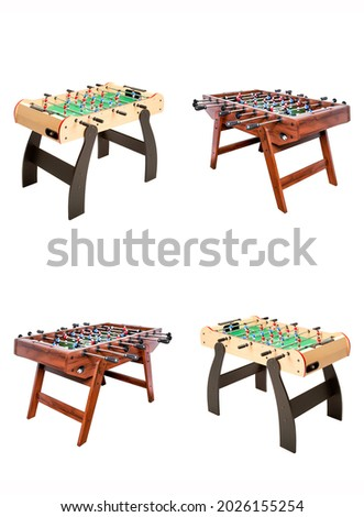 Table football set isolated on white. Soccer table. Football table. Table football for game