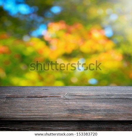 Table for picnic and natural autumn background