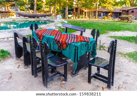 Table for several people in the Bulgarian village