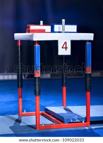 Table for sports of arm wrestling in the gym