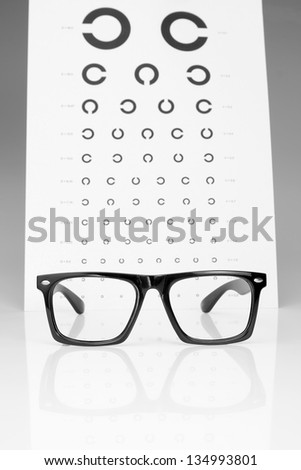 Table Golovin and glasses eye examination. On a gray background.