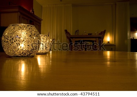 table in a chamber with romantic candlelight