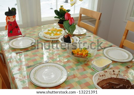 Table in a home decorated for Easter