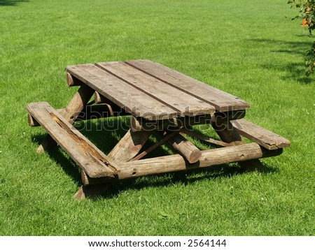 table in a park on green grass