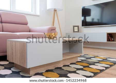 Table in contemporary living room interior #1452234968
