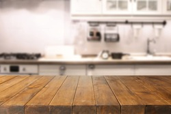 table in kitchen of retro chic and free space for your food