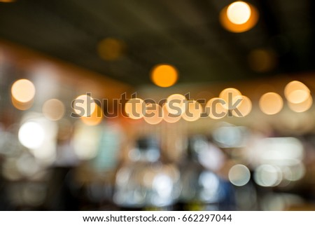 Table in the restaurant at night with bokeh light #662297044