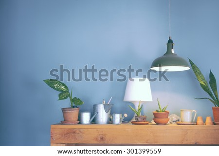 Table lamp and a small plant pot on wood cabinet vintage color