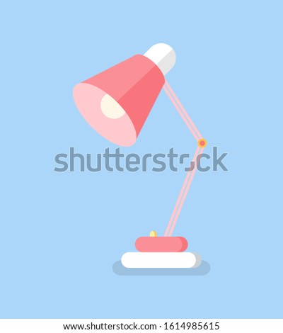Table lamp flat icon element for work raster. Table lighting device isolated on blue. Office or home illumination, single colorful electric object