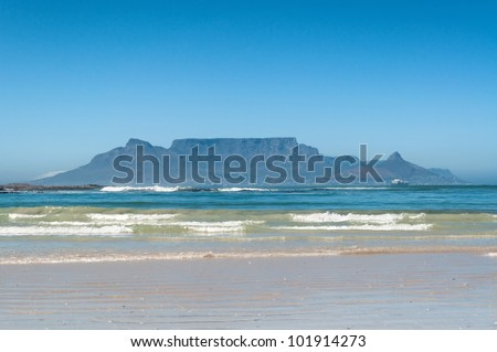 Table Mountain, Cape Town, South Africa seen from Bloubergstrand