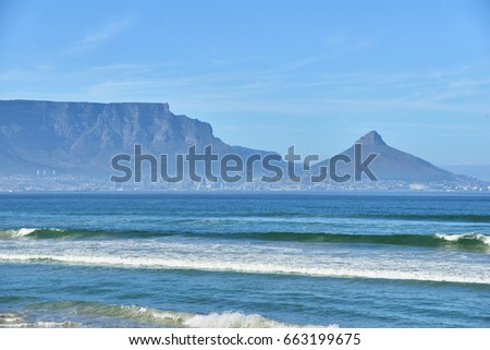 Table Mountain from Dolphin Beach in Bloubergstrand  #663199675