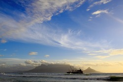 Table Mountain in Cape Town, South Africa, as seen from Bloubergstrand, late in the afternoon just after sunset