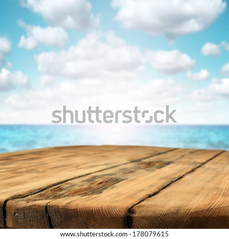 table of wood and sea