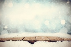 table of wood and snow space