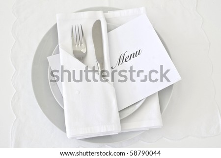 Table place setting in white