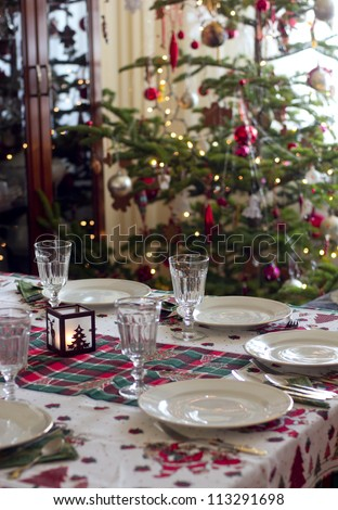 table prepared for christmas dinner