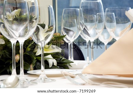 stock photo Table preparing for after wedding ceremony diner in luxury