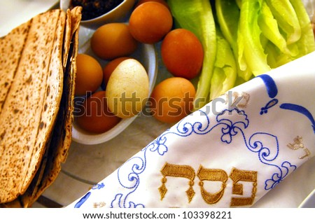 Table Ready For Traditional Seder Ritual during the Jewish holiday of Passover.