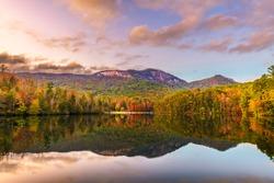 Table Rock Mountain, Pickens, South Carolina, USA lake view in autumn at dusk.