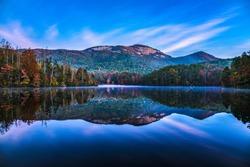 Table Rock State Park and Pinnacle Lake at Sunrise near Greenville South Carolina SC