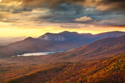 Table Rock State Park, South Carolina, USA at dusk in autumn.