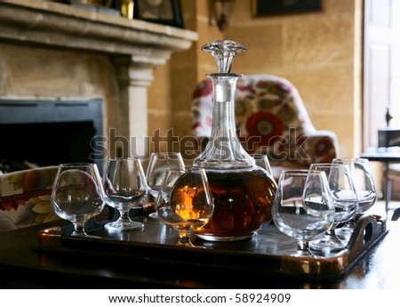 Table served with cognac in an aristocratic chateau