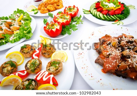 Table served with tasty meals