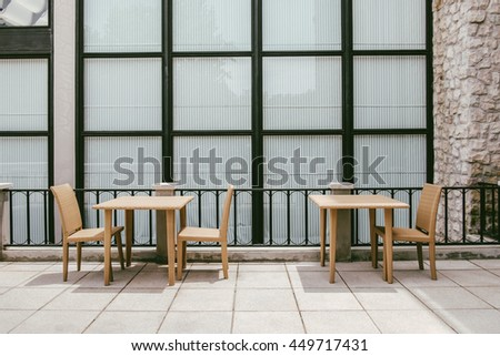 Table Set Flat Layout with a Modern Timeless Vintage Wall Glass Window Background Decoration Dining in Backyard Garden #449717431