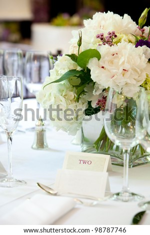 Table set for a wedding or other catered banquet