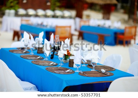 stock photo Table set for a wedding reception or party