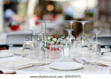Table set for an event party or dinner