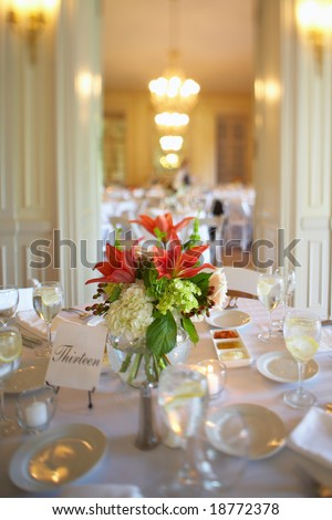 stock photo Table set for an event party or wedding reception DOF focus on