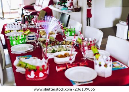Table set for family Christmas meal